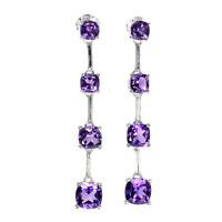 Unheated Cushion Amethyst 7mm 14K White Gold Plate 925 Sterling Silver Earrings