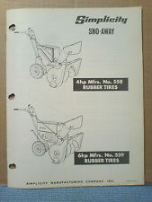 Simplicity No.558 And No.559 Sno-Away Assembly And Parts Manual Original!