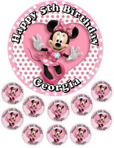 """Minnie Mouse  6.5"""" round  and 10 Smaller 1.5""""   Edible Icing Cake Topper"""