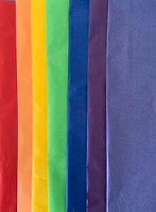 Rainbow Coloured Tissue Paper 7 Colours of Large Sheets 50X75cm