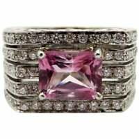 18K White Gold Pink Tourmaline & Diamond French Hallmarked Designer Ring, Size 7