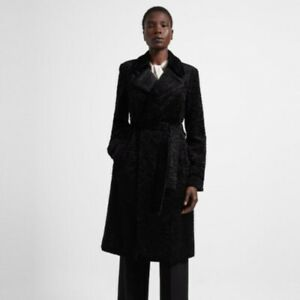Theory Oaklane Belted Trench Faux Astrakhan