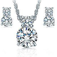 925 Silver Solid Zircon Pendant Necklace Earrings Set Women Fashion Jewelry Gift
