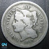 1869 3 Cent Nickel Piece  --  MAKE US AN OFFER!  #G7598