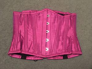Pink Taffeta Steel Boned Corset, Underbust 26 Inch