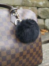 Lapin réel noir boule de fourrure pompons porte-clés accessoire de sac de charme-royaume-uni vendeur!