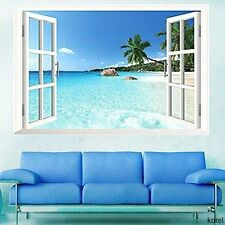 US Beach sea view 3D Window Wall Art Sticker Decal Decor Mural View Removable