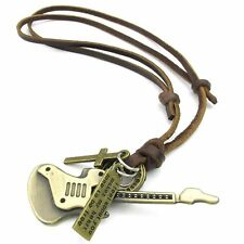 Jewelry Men's Ladies Necklace, Guitar Cross, Adjustable Sizes Alloy Pendant O7Y4
