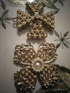 Vintage Cross Pendant Lot costume jewelry gold pearl religious decorative charms