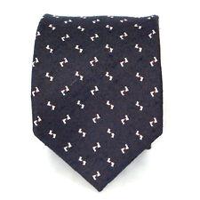 New Men's Navy Woven  Neck Tie 100% silk