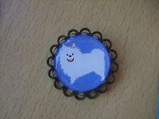 Handmade Japanese Spitz Dog Brooch Badge Puppy Bronze Volpino Italiano Blue