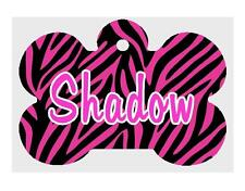 Pink ZEBRA Stripes Personalized PET ID TAG Custom Theme Dog Tag Printed 2 Sides