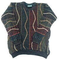 Tundra Mens Knit Sweater Coogi Style Multicolor 3D Canada Vintage Size M EUC Vtg