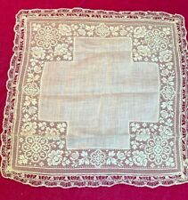 Antique Belgian Hand tatted Linen and Lace intricate hand kerchief~Spectacular
