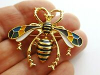 Elegant bee wasp insect blue yellow cloisonne enamel vintage style pin