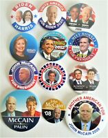 12 Presidential Campaign Buttons Biden Obama Hillary Romney McCain etc   SET55BB