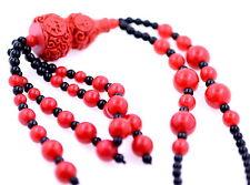 Grande collana in rilievo di zucca di lacca rossa artigianale con caratteri cine