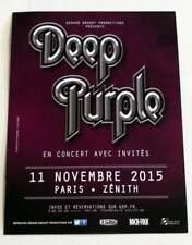 Rare flyer DEEP PURPLE Paris Zenith 11/11/2015 * Not a Ticket + THE WHO