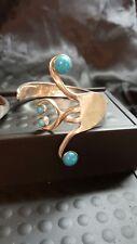 Silver Fork Bangle Bracelet Handmade vtg turquoise blue heart spoon bling cuff