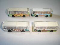 WHITE BUSES COACHES MODEL CARS SET 1:160 N - KINDER SURPRISE PLASTIC MINIATURES
