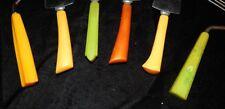 6 VTG KITCHEN BAKELITE BUTTERSCOTCH GREEN BROWN THICK WIDE HANDLED UTENSILS