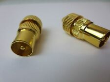 Gold TV coax plug TV Aerial lead plug male TV plug X2 Ariel plug Free Post ZT195