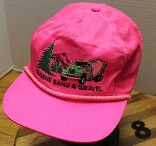 VINTAGE EUGENE SAND & GRAVEL HAT HOT PINK ZIP STRAP ADJUSTABLE VERY GOOD COND 8