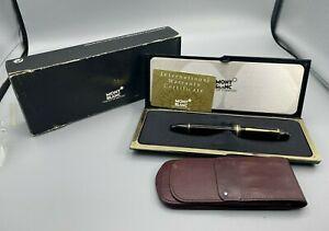 Vintage MONTBLANC 149 Fountain Pen 14K Fine Nib Boxed BRASS THREADS + Case + box