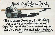 POSTCARD  COMIC WRITING THEME -  INKWELL SPILT - JUST MY ROTTEN LUCK