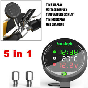 Universal Motorcycle ATV Voltmeter Thermometer LED Clock Display USB Charger
