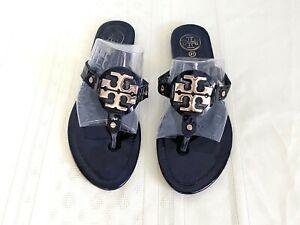 Tory Burch Miller  Black Patent Leather/Gold Logo Thong Sandal Size EU 41