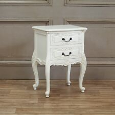 Rococo White Carved Bedside Table With 2 Drawers