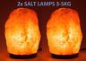 2 x 3-5 kg HIMALAYAN PINK SALT ROCK CRYSTAL LAMP NATURAL HEALING IONISING LAMPS