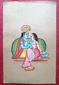 Radha Krishna Fine Love Colorful Handmade Miniature Painting SM10589