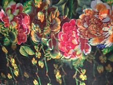 100% Mulberry Silk Chiffon Scarf Large Flowers on Black 🇦🇺 Crafted 64x178cm