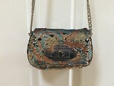 Oryany Multi Color Silver Sequin Purse Wristlet Clutch Evening Bag NEW