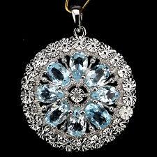 GENUINE SKY BLUE TOPAZ & 1pc PEACH DIAMOND STERLING 925 SILVER PENDANT ChainFree