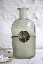 hübsche Vintage Flasche geeist grün Velourband und Perlmutt 13cm Shabby Retro