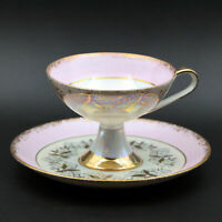 Vintage Footed Pedestal Iridescent White Luster, Pink Tea Cup & Saucer Gold Trim