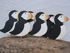 Seaside Puffins On Driftwood Decoration   Birds   Nautical  FREE POST Home decor