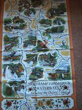 Vintage 100%  Cotton Tea Towel Northamptonshire's Waterways Souvenir