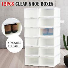 Transparent Clear Plastic Shoe Storage Box Foldable Stackable Boxes 12pcs AU