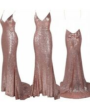 BOUTIQUE GOLD DEEP PLUNGE BACKLESS SEQUIN MAXI DRESS WITH BOW DETAIL 6 8 12