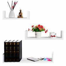 Wall Shelves Floating Board Mounted Display Shelves Set of 3 White URG9239ws