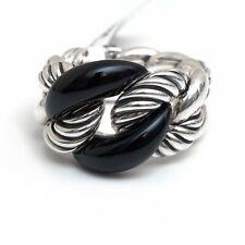 New DAVID YURMAN 17mm Belmont Curb Link Ring in Black Onyx & Silver, Size 8