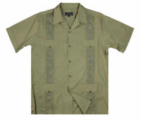 NEW GUAYABERA MEN'S LATINO CUBAN BARTENDER WEDDING OLIVE CASUAL DRESS SHIRT