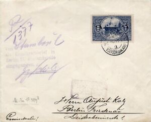TURKEY: Registered cover to Germany 1916. Arr.canc. Censored.
