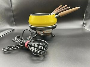 VINTAGE OSTER ELECTRIC FONDUE 70s Model  Retro  Yellow w/6 Forks Works