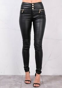 Denim Fashion high Waisted Triple Button Jeans Leather Look Trousers Black