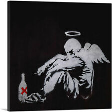 """Drunken Angel - Fallen Angel Canvas Art Print by Banksy 18""""x18"""" (.75"""" Deep)"""